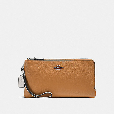COACH F54051 DOUBLE ZIP WALLET IN COLORBLOCK LIGHT SADDLE CHALK/SILVER