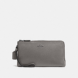 COACH F54052 Double Zip Wallet HEATHER GREY/DARK GUNMETAL