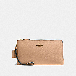 COACH F54052 - DOUBLE ZIP WALLET BEECHWOOD/LIGHT GOLD
