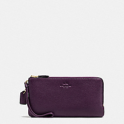 COACH F54056 Double Zip Wallet In Pebble Leather IMITATION GOLD/AUBERGINE