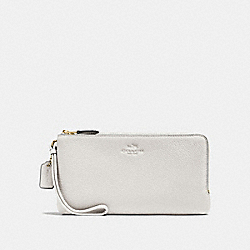 COACH F54056 Double Zip Wallet In Pebble Leather IMITATION GOLD/CHALK