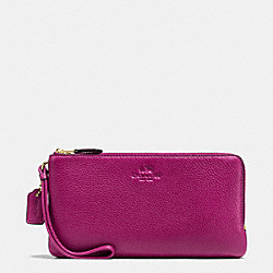 COACH F54056 Double Zip Wallet In Pebble Leather IMITATION GOLD/FUCHSIA