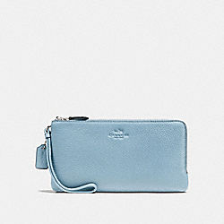 COACH F54056 - DOUBLE ZIP WALLET IN PEBBLE LEATHER SILVER/CORNFLOWER