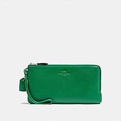 COACH F54056 Double Zip Wallet In Pebble Leather SILVER/JADE