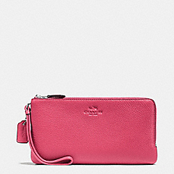 COACH F54056 Double Zip Wallet In Pebble Leather SILVER/STRAWBERRY