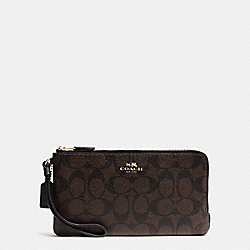 COACH F54057 Double Zip Wallet In Signature IMITATION GOLD/BROWN/BLACK