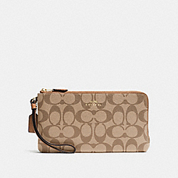 COACH F54057 Double Zip Wallet In Signature IMITATION GOLD/KHAKI/SADDLE