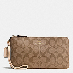 COACH F54057 Double Zip Wallet In Signature IMITATION GOLD/KHAKI PLATINUM