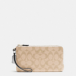 COACH F54057 Double Zip Wallet In Signature IMITATION GOLD/LIGHT KHAKI/CHALK