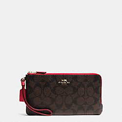 COACH F54057 Double Zip Wallet In Signature IMITATION GOLD/BROWN TRUE RED