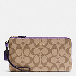 COACH F54057 Double Zip Wallet In Signature IMITATION GOLD/KHAKI AUBERGINE