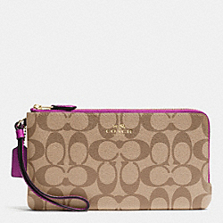 COACH F54057 Double Zip Wallet In Signature IMITATION GOLD/KHAKI/HYACINTH