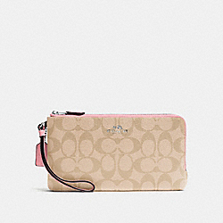 COACH F54057 Double Zip Wallet In Signature Coated Canvas SILVER/LIGHT KHAKI/BLUSH