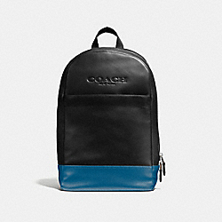 CHARLES SLIM BACKPACK IN SPORT CALF LEATHER - f54135 - MIDNIGHT/DENIM