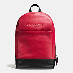 COACH F54135 Charles Slim Backpack In Sport Calf Leather RED/BLACK