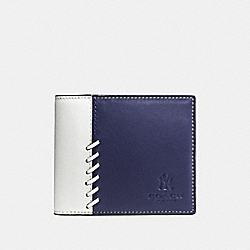 COACH F54180 Mlb Compact Id Wallet With Rip And Repair NY YANKEES