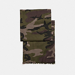 COACH F54190 Lightweight Camo Scarf DARK GREEN CAMO
