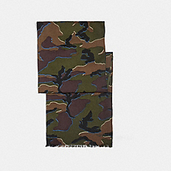 COACH F54190 Lightweight Camo Scarf DARK GREEN/BLUE