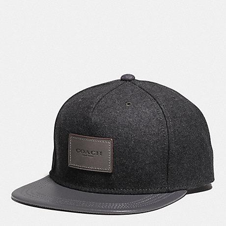 COACH F54192 - WOOL FLAT BRIM HAT - GRAPHITE  ed10b549948