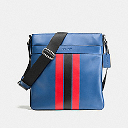 CHARLES CROSSBODY IN VARSITY LEATHER - f54193 - INDIGO/BRIGHT RED