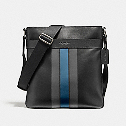 CHARLES CROSSBODY IN VARSITY LEATHER - f54193 - BLACK ANTIQUE NICKEL/BLACK/GRAPHITE/DARK DENIM
