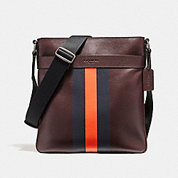 CHARLES CROSSBODY IN VARSITY LEATHER - f54193 - BLACK ANTIQUE NICKEL/OXBLOOD/MIDNIGHT NAVY/CORAL