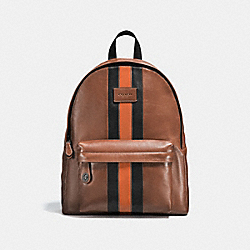 COACH F54205 Campus Backpack With Varsity Stripe DARK SADDLE/BLACK/BLACK ANTIQUE NICKEL
