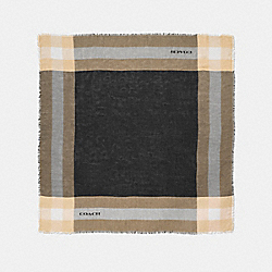 COACH F54253 - WINDOWPANE CHALLIS SCARF BLACK