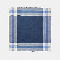 OUTLET WINDOWPANE CHALLIS SCARF - f54253 - MARINA/CHALK