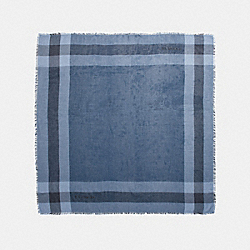 WINDOWPANE CHALLIS SCARF - f54253 - INK BLUE