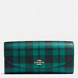 COACH F54370 Slim Envelope Wallet In Riley Plaid Print Coated Canvas IMITATION GOLD/ATLANTIC MULTI