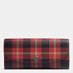 COACH F54370 Slim Envelope Wallet In Riley Plaid Print Coated Canvas QB/TRUE RED MULTI