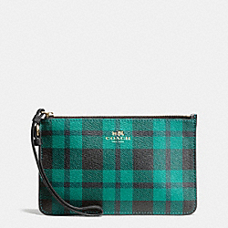 COACH F54461 Small Wristlet In Riley Plaid Coated Canvas IMITATION GOLD/ATLANTIC MULTI