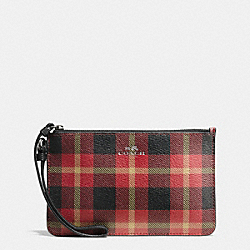 COACH F54461 Small Wristlet In Riley Plaid Coated Canvas QB/TRUE RED MULTI