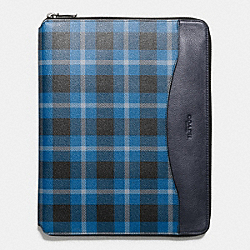 COACH TECH CASE IN PLAID PRINT COATED CANVAS - BLACK/DENIM PLAID - F54479