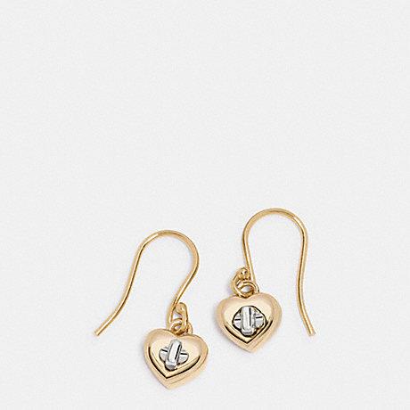 COACH TURNLOCK HEART WIRE EARRING - GOLD/SILVER - f54489