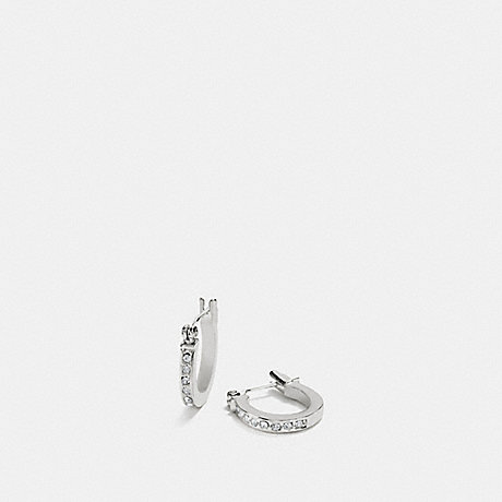 Coach F54497 Pave Signature Huggie Earrings Silver