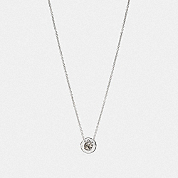 OPEN CIRCLE STONE STRAND NECKLACE - f54514 - SILVER