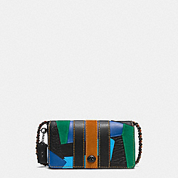 COACH F54540 Dinky In Varsity Patchwork Leather BLACK COPPER/BLACK MULTI