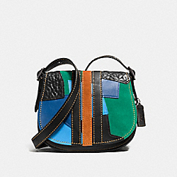COACH F54541 Saddle 23 In Varsity Patchwork Leather BLACK COPPER/BLACK MULTI