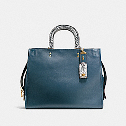 COACH F54557 - ROGUE 36 IN COLORBLOCK WITH SNAKESKIN DETAIL OL/DARK DENIM