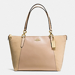 AVA TOTE IN LEATHER AND SUEDE WITH CROC EMBOSSED LEATHER TRIM - f54579 - IMITATION GOLD/BEECHWOOD