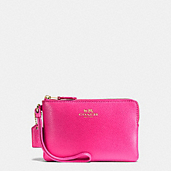 COACH F54626 Corner Zip Wristlet In Crossgrain Leather IMITATION GOLD/PINK RUBY