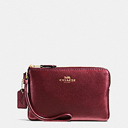 CORNER ZIP WRISTLET IN CROSSGRAIN LEATHER - f54626 - IMITATION GOLD/METALLIC CHERRY