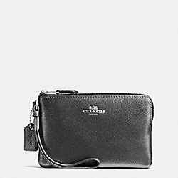 CORNER ZIP WRISTLET IN CROSSGRAIN LEATHER - f54626 - SILVER/GUNMETAL