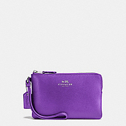 COACH F54626 Corner Zip Wristlet In Crossgrain Leather SILVER/PURPLE