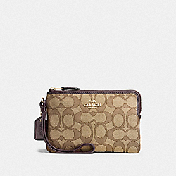 COACH F54627 Corner Zip Wristlet In Outline Signature IMITATION GOLD/KHAKI/BROWN
