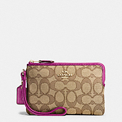 COACH F54627 Corner Zip Wristlet In Outline Signature IMITATION GOLD/KHAKI/FUCHSIA