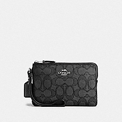 COACH F54627 Corner Zip Wristlet In Outline Signature SILVER/BLACK SMOKE/BLACK