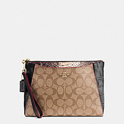 MORGAN CLUTCH 24 IN SIGNATURE WITH EXOTIC MIX TRIM - f54628 - IMITATION GOLD/KHAKI/BLACK